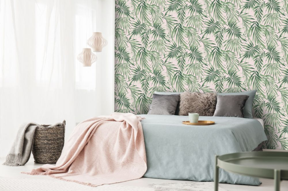 Graham and Brown Elegant Leaves Pink 106569 Wallpaper PB